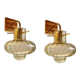 Mid Century Modern Kaki Green Murano Glass Sconces, Vintage Italy 1980s - a Pair For Sale
