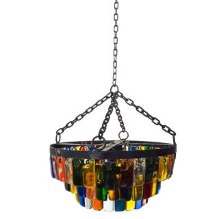 Mid-Century Mexican Modernist 3 Tier Color Glass Chandelier by Delfinger for Feders For Sale