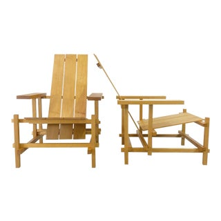 Gerrit Rietveld Style Lounge Chairs - a Pair For Sale