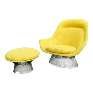 1966 Vintage Warren Platner for Knoll International Easy Chair & Ottoman For Sale