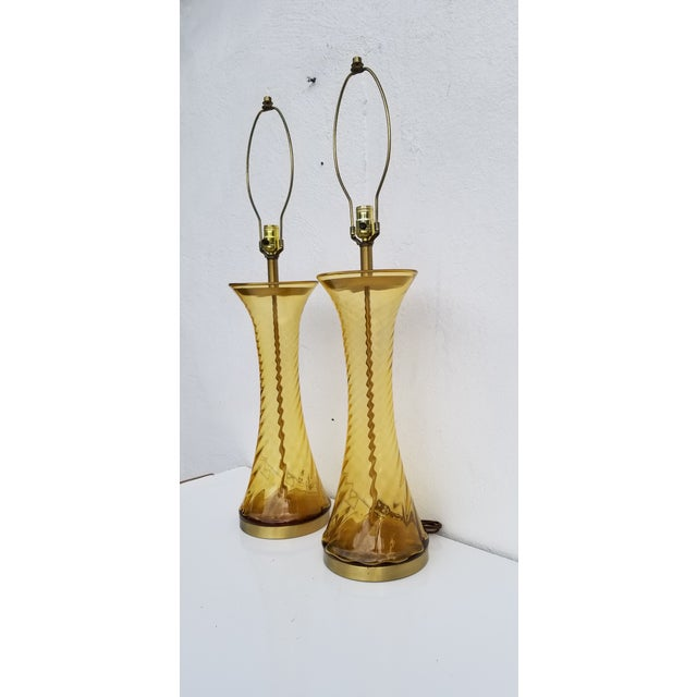 1970s Pair of Tall Vintage Amber Glass Table Lamps For Sale - Image 5 of 13