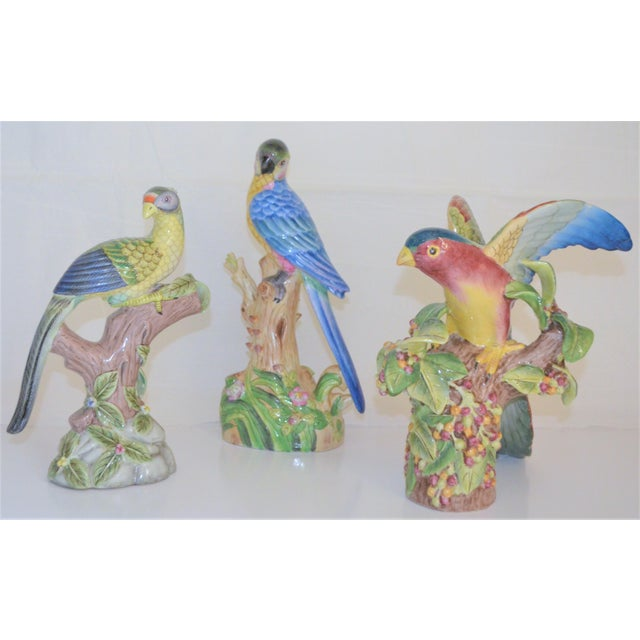 Asian 1980 Chinese Export Exotic Bird Figurines - Set of 3 For Sale - Image 3 of 11