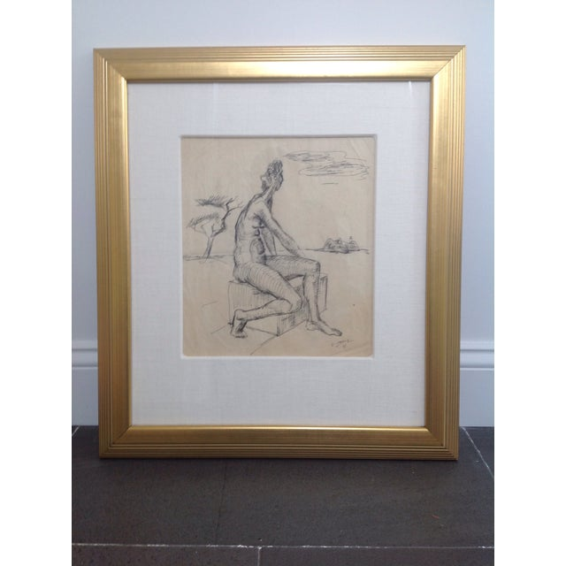 Charcoal drawing by German painter Ernst Stolz (1901-1989) who later moved to Berkeley, CA. His work is of the German...