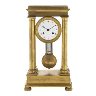 Antique 19th C Charles X Style Gilt Bronze Portico Mantel Clock For Sale