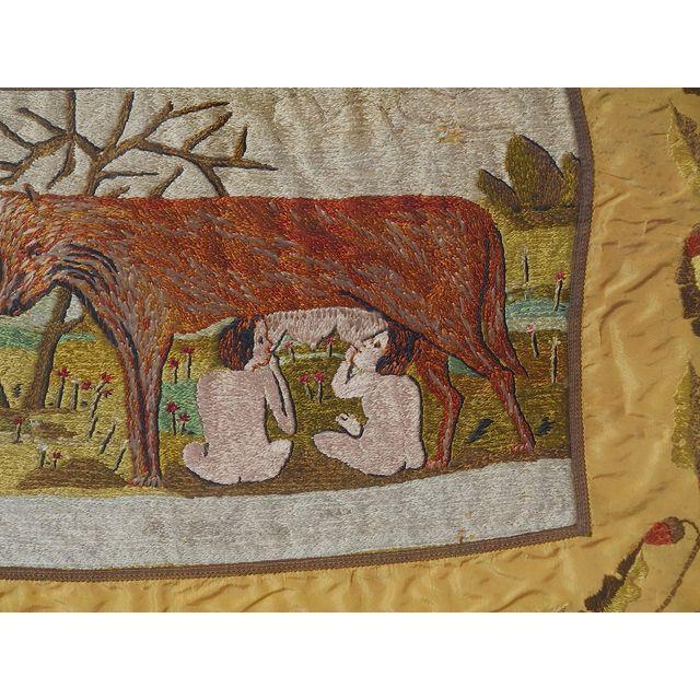 Antique Cincinnati Romulus/Remus Silk Embroidery For Sale - Image 4 of 5
