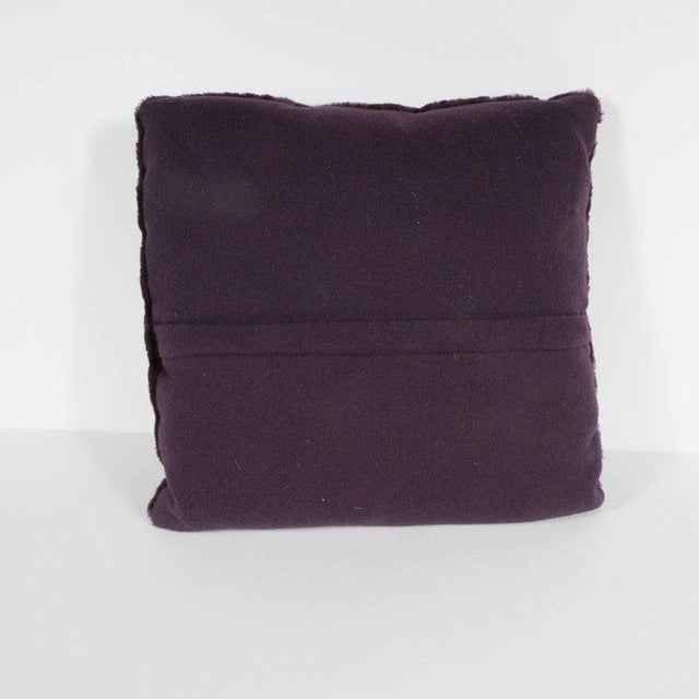Art Deco Custom Handmade Pillows in Luxe Smoked Amethyst Loro Piana Cashmere For Sale - Image 3 of 9