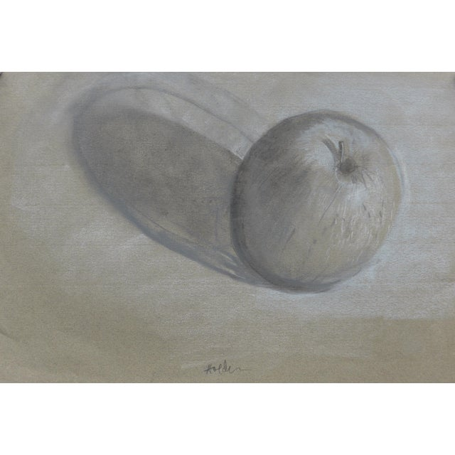 An imaginative charcoal and pastel drawing on lovely textured pastel paper of a simple apple with it's shadow.. The...