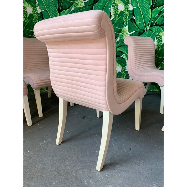 Preview Set of Six Sculptural Pink Tufted Dining Chairs For Sale - Image 4 of 11