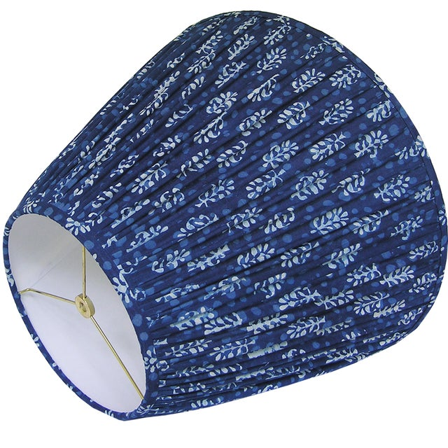Boho Chic New, Made to Order, Indigo Blue Block Print Fabric, Large Pleated/Gathered Lamp Shade Shade For Sale - Image 3 of 4