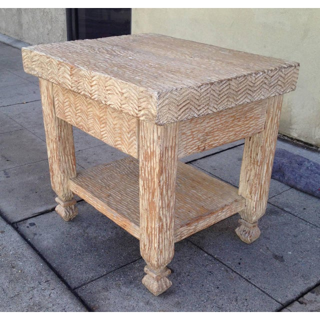 Shabby Chic Carved & Bleached Wood Side Tables - A Pair For Sale - Image 3 of 8