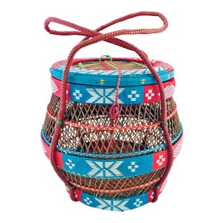 Vintage Colorful Woven Basket With Lid For Sale