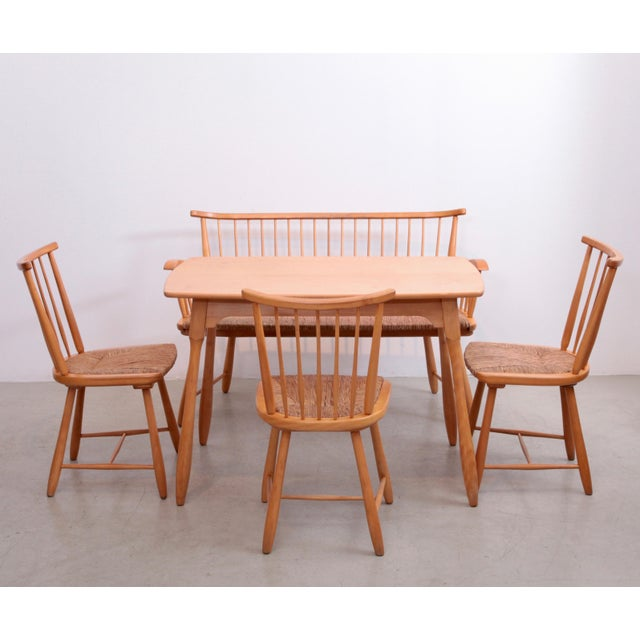 Arno Lambrecht Dining Set of Table, Three Chairs and a Bench for WK Mobel For Sale - Image 11 of 11