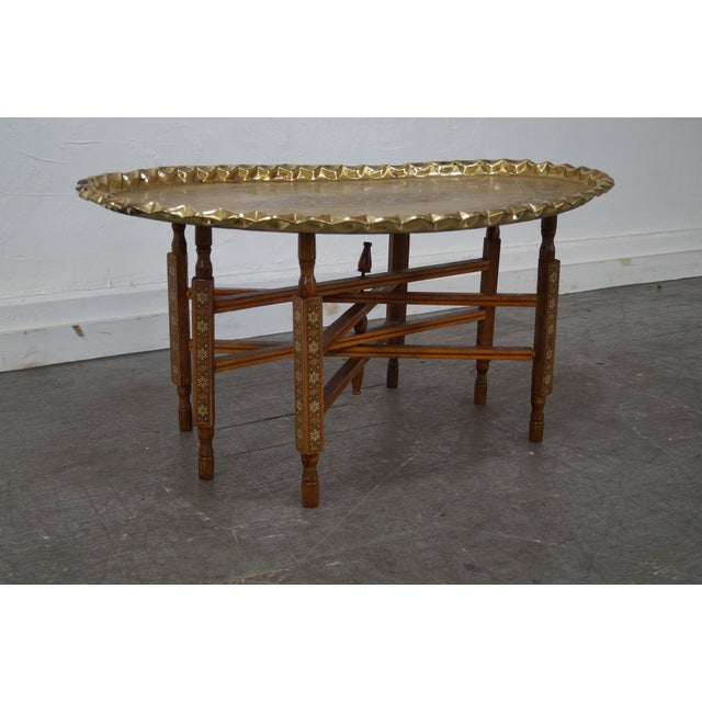 Brass Tray Coffee Table Vintage: Moroccan Scalloped Brass Tray Top Coffee Table