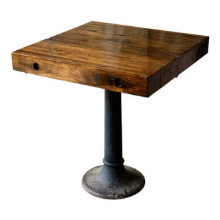 Pecan Butcher Block Pedestal Table For Sale