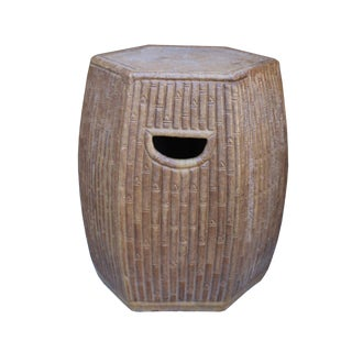 Chinese Hexagon Bamboo Theme Brown Ceramic Clay Garden Stool For Sale