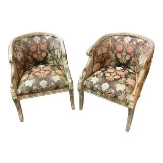Hollywood Regency Floral Carved Bergere Chairs - a Pair