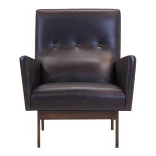 Jens Risom Style Custom-Made Leather Lounge Chair For Sale