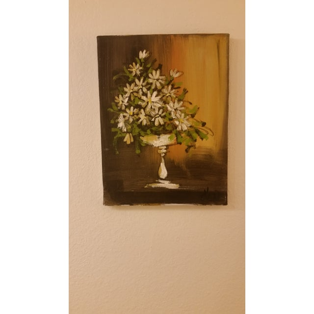 Mid-Century Modern 'Daisies in a Vase' Painting For Sale - Image 3 of 3
