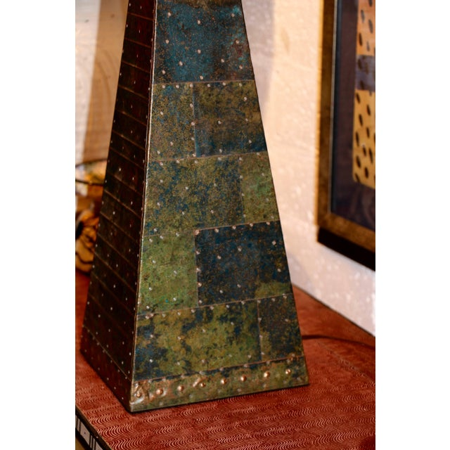 Metal Hand-Hammered Patchwork Copper Lamp and Shade For Sale - Image 7 of 10