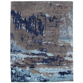 """Traditional Pasargad N Y Modern Wool & Bamboo Silk Hand Knotted Area Rug - 7'10"""" X 10'2"""" For Sale"""