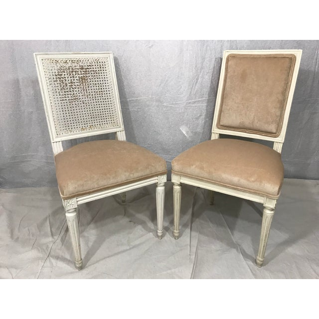 Antique White Louis XVI Style Dining Chairs Set of 8 For Sale - Image 8 of 9