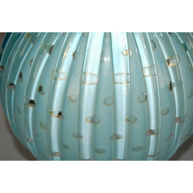 Murano Glass Stacked Ball Table Lamps Blue For Sale - Image 9 of 10