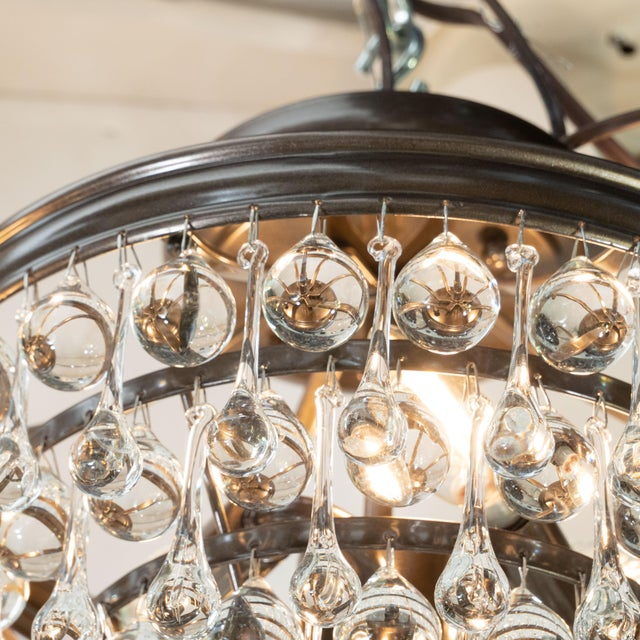 Modernist Five-Tier Oil Rubbed Bronze Handblown Translucent Tear Drop Chandelier For Sale - Image 4 of 9