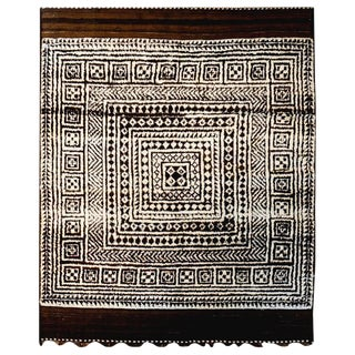 19th Century Persian Gabbeh Brown Geometric Wool Rug - 5′7″ × 8′