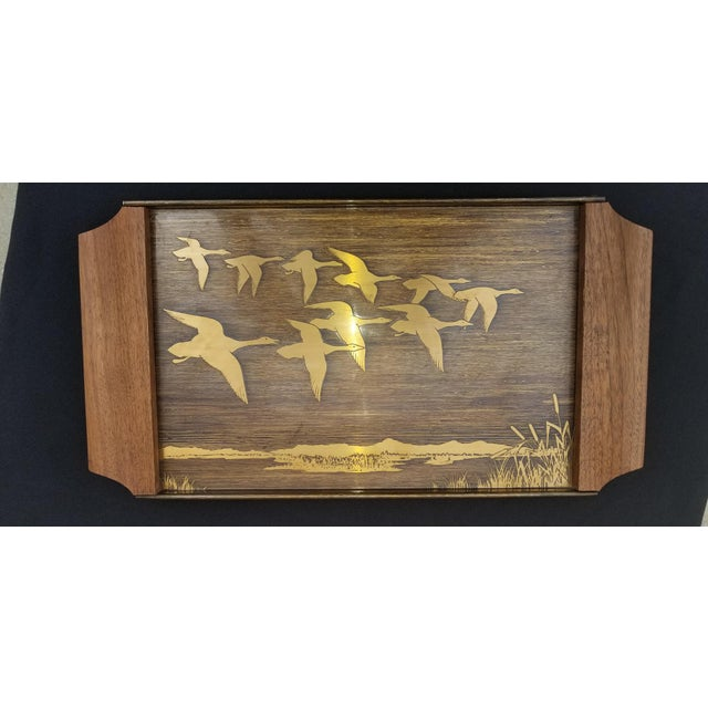 Vintage Mid-Century Brass Etched Tray With Flying Ducks and Walnut Wood Handles For Sale - Image 9 of 9