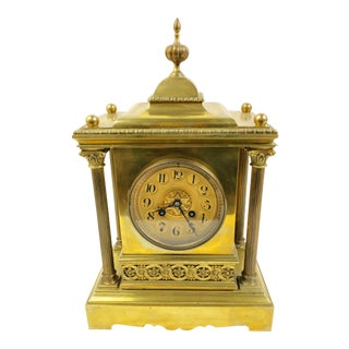 "French Brass and Bronze Mantel Clock by A.D. Mougin, ""Deux Medailles"", 1902-1922 For Sale"