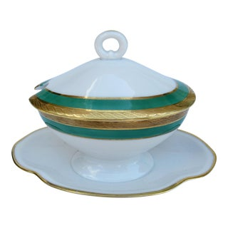 C.1950s Italian Richard Ginori Porcelain & Gilt Gold Creamer Server With Attached Under Plate For Sale