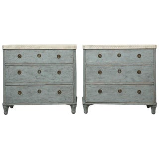 Pair of Antique Swedish Gustavian Painted Chests, 19th Century