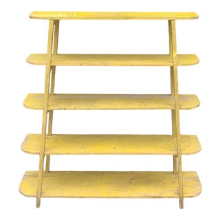 Distressed Painted Yellow Country Primitive Shop Built Open Shelf Rack, C1980s For Sale