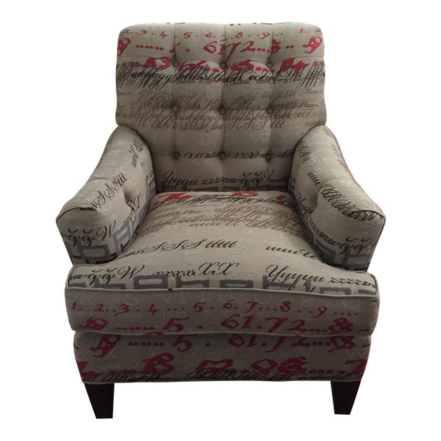 Tufted Calligraphic Upholstered Chair - Image 1 of 6