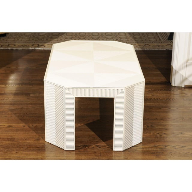 White 1970s Bamboo Marquetry Coffee Table or Bench For Sale - Image 8 of 13