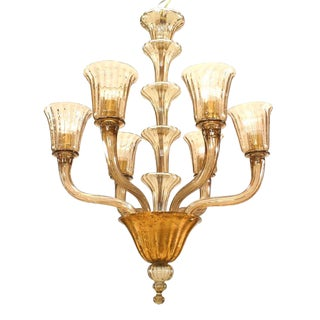 Italian 1940s Smoked Colored Glass Chandeliers For Sale