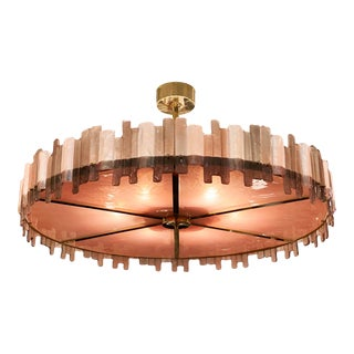 Pink Mazzega Murano Glass Chandelier For Sale