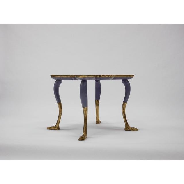 """Rare Pedro Friedeberg (Mexican, b. 1936) mariposa table. Hand-painted in bright colors and gilded legs. Signed """"Pedro..."""