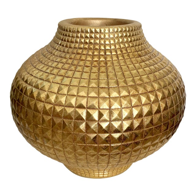 Contemporary Modern Round Full Gilt Gold Color Metallic Fiberglass Unbreakable Vase For Sale