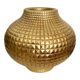 Contemporay Moern Round Full Gilt Gold Color Vase For Sale