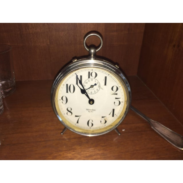 This is a vintage Westclox Big Ben peg leg alarm clock circa the 1930s. It is nickel plated with a paper face. This...
