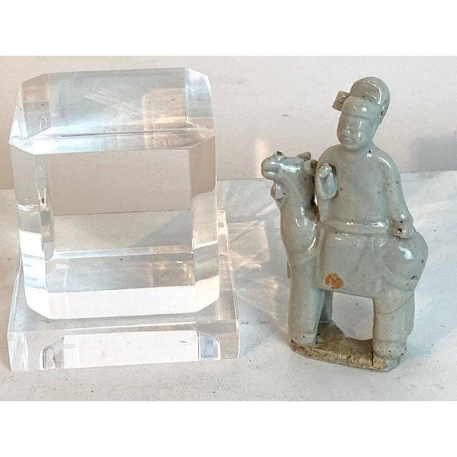 Song Dynasty Chinese Celadon Porcelain Horse and Rider on Later Lucite Pedestal For Sale In West Palm - Image 6 of 13