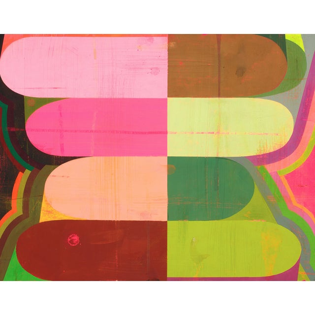 """Abstract Deborah Zlotsky """"Sis"""" Colorful Abstract Painting on Paper For Sale - Image 3 of 3"""