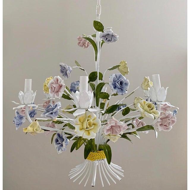 Vintage Ca 1950s Italian Tole 6 Arms Chandelier & Porcelain Rosebuds Flowers For Sale - Image 13 of 13