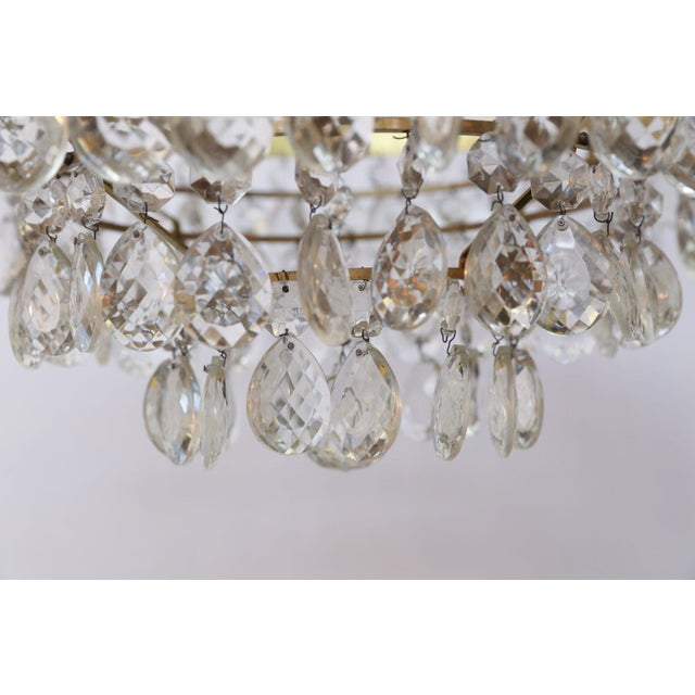 1950s Gilt Brass and Crystal Chandelier by Palwa For Sale - Image 5 of 12
