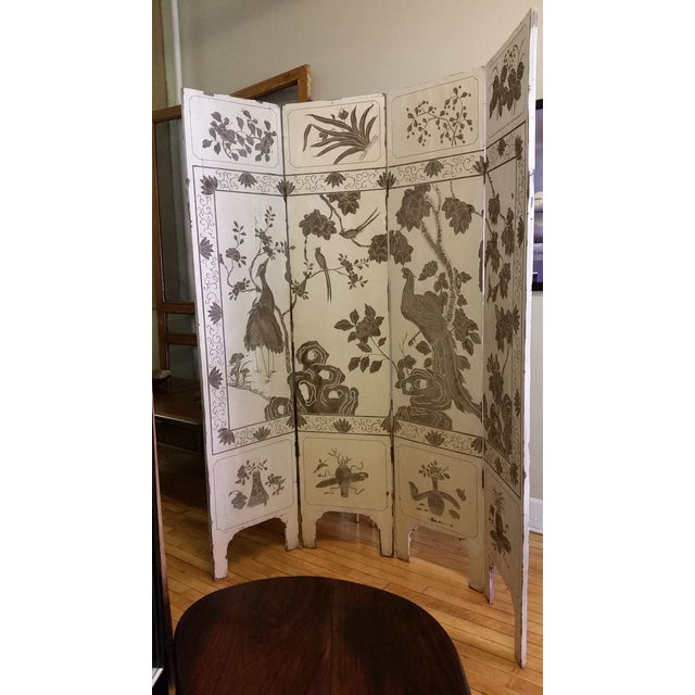Asian 1920s Antique Chinese Gesso Screen Room Divider For Sale - Image 3 of 13