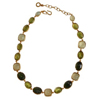 Goossens Paris Shades of Green Rock Crystal Necklace For Sale