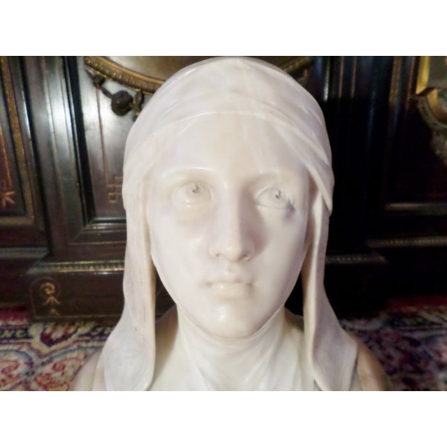 Antique Italian Alabaster Bust of Woman For Sale - Image 6 of 13