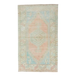 """1950s Vintage Oushak Medallion Soft Teal and Pastel Wool & Cotton Hand-Knotted Rug - 3'5"""" X 5'9"""" For Sale"""