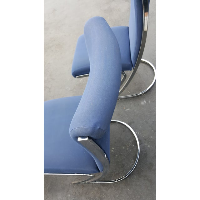 Mid-Century Pierre Cardin Z-Back Chrome Cantilever Dining Chairs - Set of 4 For Sale - Image 5 of 9